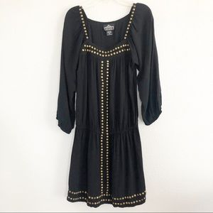 Angie Black w Metal Studs Boho Dress Sz Medium